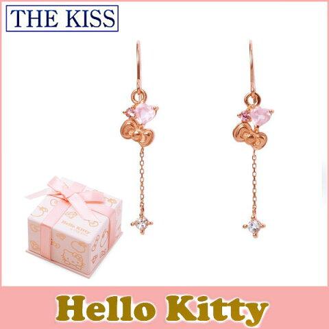 送料無料 【HELLO KITTYxTHE KISSコラボ】 THE KISS sweets K10 ピンク ゴールド ピアス レディース ハートカットローズクォーツ x ピンクトルマリン x ホワイトトパーズ リボン ハート KITTY-33RQ ホワイトデー