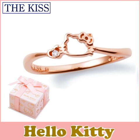 ハロー キティー 【HELLO KITTYxTHE KISSコラボ】 THE KISS シルバー リング 【レディース販売】 SV925製 フェイスモチーフ ピンクコーティング x ダイヤモンド KITTY-12DM 記念日