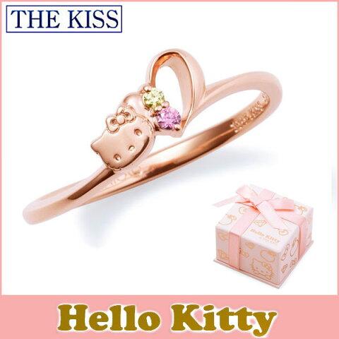 ハロー キティー【HELLO KITTYxTHE KISSコラボ】 THE KISS シルバー リング 【レディース販売】 SV925製 ハートモチーフ ピンクコーティング x キュービックジルコニア KITTY-15CB 記念日