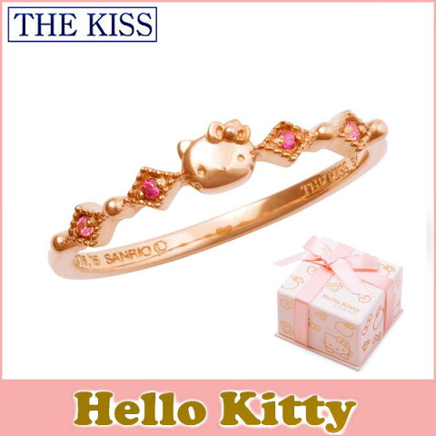 ハロー キティー 【HELLO KITTYxTHE KISSコラボ】 THE KISS シルバー リング 【レディース販売】 SV925製 フェイスモチーフ ピンクコーティング x キュービックジルコニア KITTY-37CB 記念日
