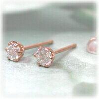 ピンクゴールド0.2ctダイヤモンドピアス