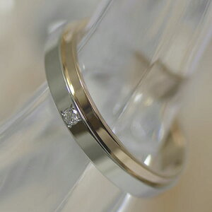 結婚指輪マリッジリングペアリングプラチナピンクゴールドバーゼルダイヤPT900K18PG製【1本販売】筆記体.かな.漢字.ハート可ローズゴールド結婚記念日幸せの絆05P20Feb16