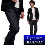 BLUEWAY:ソリッドストレッチデニム・タイトスリムジーンズ(ワンウォッシュ):M1880-8100 ブルーウェイ ジーンズ メンズ デニム ジーパン 裾上げ