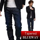 BLUEWAY:ソリッドストレッチデニム・レギュラーテーパードジーンズ(ダークビンテージ)