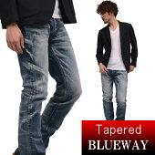 BLUEWAY:ソリッドストレッチデニム・レギュラーテーパードジーンズ(オーバーエイジング)