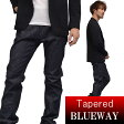 BLUEWAY:ソリッドストレッチデニム・レギュラーテーパードジーンズ(ワンウォッシュ):M1881-8100 ブルーウェイ ジーンズ メンズ デニム ジーパン 裾上げ