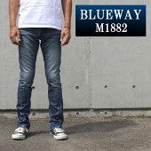 BLUEWAY:ソリッドストレッチデニム・セミブーツカットジーンズ(ハードビンテージ):M1882-5504ブルーウェイジーンズメンズデニムジーパン裾上げ
