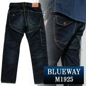 BLUEWAY:13.5ozビンテージデニム・ロガーワークパンツ(オールドブルー):M1925-4450ブルーウェイジーンズメンズデニムジーパン裾上げストレート