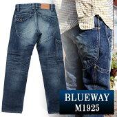 BLUEWAY:13.5ozビンテージデニム・ロガーワークパンツ(オールドブルーブリーチ):M1925-4654ブルーウェイジーンズメンズデニムジーパン裾上げストレート