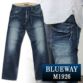 BLUEWAY:13.5ozビンテージデニム・6Pワークパンツ(オールドブルーブリーチ):M1926-4654ブルーウェイジーンズメンズデニムジーパン裾上げストレート