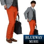BLUEWAY:コーマストレッチサテン・タイトストレートパンツ(ダークオレンジ):M1931-16ブルーウェイメンズチノパン裾上げ