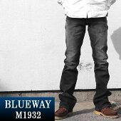 BLUEWAY:ストレッチデニム・ブーツカットジーンズ(ユーズド:ブラック):M1932-4265ブルーウェイジーンズメンズデニムジーパン裾上げ