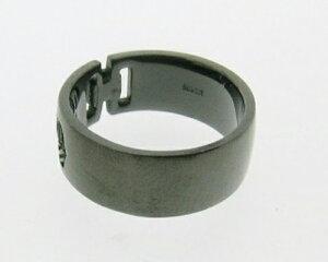 《CICO》シルバーブラックコーティングブラックダイヤモンド入りリング