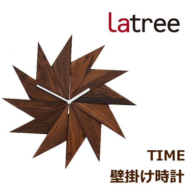 壁掛け時計 天然木 木製 ウォールクロック 風 ウォルナット 掛け時計 直径41cm おしゃれ シンプル 北欧 インテリア クロック HIDAKAGU/ラトレ(Latree) TIME PL1TIM-0030414-WNOL