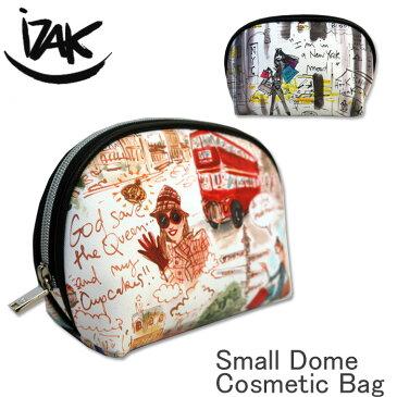 [最大4,000円クーポン発行中][2018 AW New] iZAK イザック コスメティックポーチ 化粧ポーチ 小さめ コスメポーチ 化粧品入れ メイク ポーチ イラスト 合皮 国内 【正規品】 Small Dome Cosmetic Bag IZCS14 IZCS19
