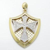 喜平チェーン専用ペンダントヘッドK18K18WGダイヤモンド0.8ct特大メンズ男性用本物喜平チェーン専用ペンダントヘッドナイト騎士十字架クロス盾紋章エンブレム