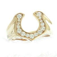 馬蹄蹄鉄ホースシューウエスタン西部ジュエリーダイヤモンドリングメンズ男性0.5ct男性指輪