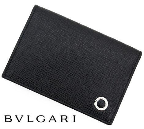 BVLGARI ブルガリ グレインレザー ブルガリブルガリ カードケース/名刺入れ ブラック 30400 BLACK【送料無料】