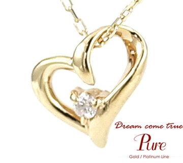 PureK10ピュアダイヤモンド0.014ctK10YGイエローゴールドオープンハートネックレス/ペンダントアクセサリーイエローゴールド×クリアPKJ-003