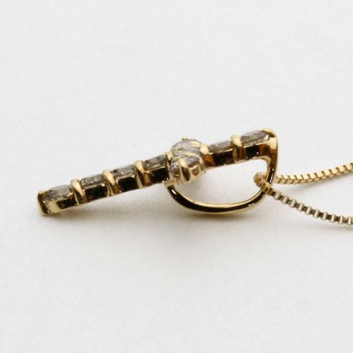 18金 ダイヤモンドクロス ペンダント (ダイヤ0.2ct・シャンパンカラー)