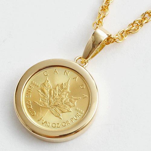 数量限定企画●送料無料● 純金 メイプルリーフ 1/10 コイン 金貨 ペンダント 【s...