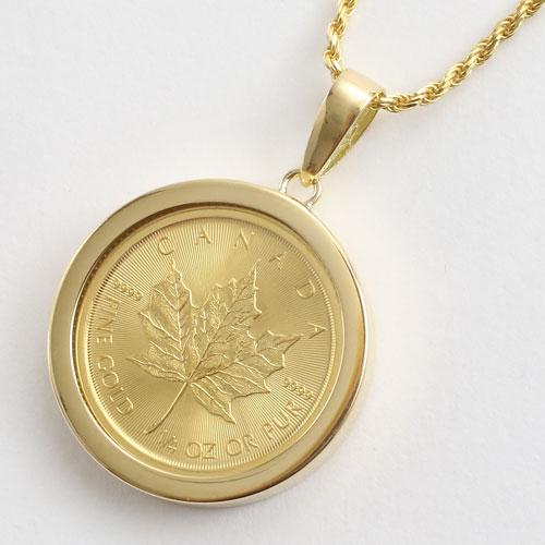 ◆送料無料・消費税込◇ 純金 メイプルリーフ 1/4 コイン 金貨 ペンダント【smtb-...