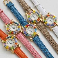 イタリア製ベネチアンガラス/ベネチアングラス/時計/腕時計/ウォッチホワイト/白/ベルト/手作り/ハンドメイド【smtb-k】