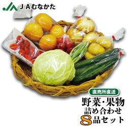 【送料無料】旬の野菜と果物の詰め合わせセット8品/直売所直送/JAむなかた