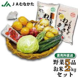 【送料無料】旬の野菜とお米(2kg)の詰め合わせセット5品/直売所直送/JAむなかた