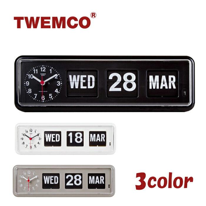 TWEMCO トゥエンコ デジタルカレンダークロック パタパタ時計 全3色 置き・掛け兼用 置時計 BQ-38