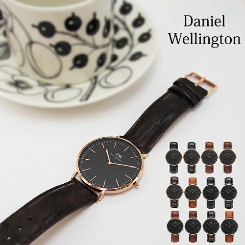 Daniel Wellington ダニエルウェリントン Classic Black 40mm クラシックブラック 本革レザーベ...