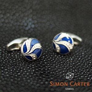 SIMON CARTER サイモンカーター カフス カフリンクス カフスボタン VINTAGE BUTTON BLUE/ブルー×シルバー サイモンカーター カフス カフスボタン メンズ