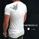 EMPORIO ARMANI エンポリオ アルマーニ 半袖VネックTシャツ 全2色 110810 9P745 バックプリント アルマーニ tシャツ