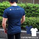 EMPORIO ARMANI エンポリオ アルマーニ 半袖VネックTシャツ 全2色 4800 9P510 バックプリント アルマーニ tシャツ イタリア国旗