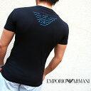 EMPORIO ARMANI エンポリオ アルマーニ 半袖クルーネックTシャツ ブラック 111035 9P725 バックプリント アルマーニ tシャツ