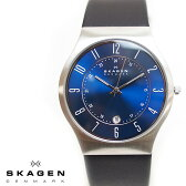 SKAGEN スカーゲン メンズ腕時計 37mm Titanium Date チタニウム ブルー 233XXLSLN スカーゲン 腕時計 メンズ