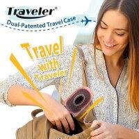【送料無料】NuWay 【Traveler】 トラベラー ヘアブラシ コンパクトサイズ 髪サラサラ 旅行 くし ケース付き 持ち運びに便利 ギフト ペットにも 静電気低減 マッサージ効果※正規販売店