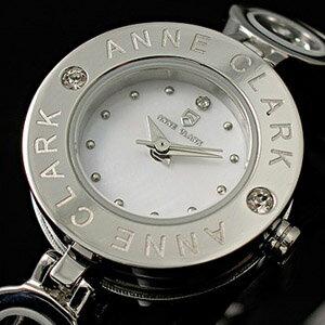 (キャッシュレス5%還元)【送料無料】【ANNE CLARK】アンクラーク・レディース腕時計シルバー チャーム入り 天然シェル文字盤 AT-1008-09