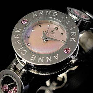 (キャッシュレス5%還元)【送料無料】【ANNE CLARK】アンクラーク・レディース腕時計シルバー チャーム入り 天然ピンクシェル文字盤 AT-1008-17