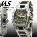 [送料無料] 腕時計 メンズ ユニバーシティ クオーツ トノー型腕時計 メンズ腕時計 うでどけい US203BK-G