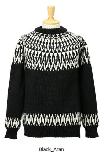 Guernsey Woollens Icelandic Twotone Sweater GW1002: Black / Aran