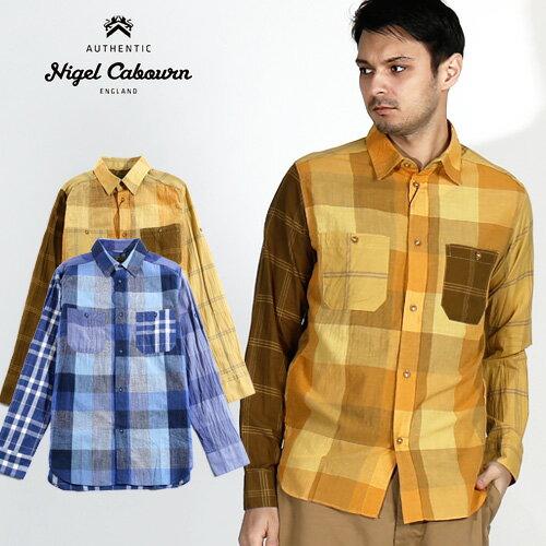 トップス, カジュアルシャツ nigel cabournMADRAS CHECK MIX SHIRTS 80380010008