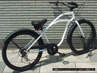 【選べる3色!!】【選べるハンドル!!】【ギヤ付き】【ゆったり座れるロングボディー】変速PLATINUMDICEプラチナダイス26インチビーチクルーザー♠fivecard-bike