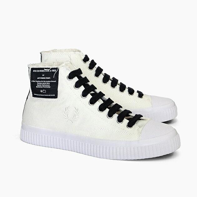 メンズ靴, スニーカー  FRED PERRY ART COMES FIRST HUGHES MID CANVAS B5266 303 SNOW WHITE