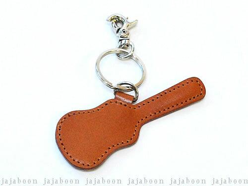 JAJABOON メール便OK  ギターケース型ピックケースキーホルダー茶(ギターピック付)