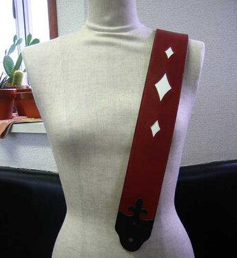 JAJABOONブリティッシュスタイルユリの紋章ギターストラップワイン(ワインレッド×黒)本革(レザー)製