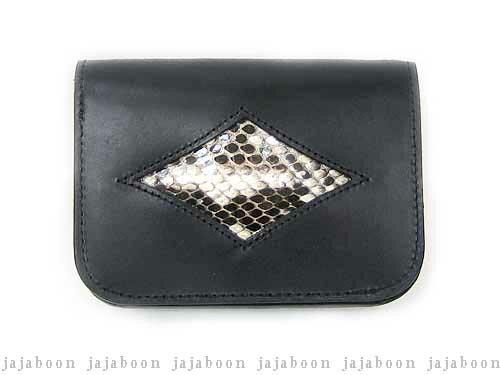 33f327b6d686 JAJABOON シザー ダイヤモンドパイソンウォレット二つ折り財布黒本革 ...