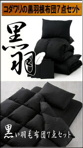 渋いオトナのコダワリ「黒」!黒羽毛布団7点セット■送料無料■ベッドタイプダブルサイズ