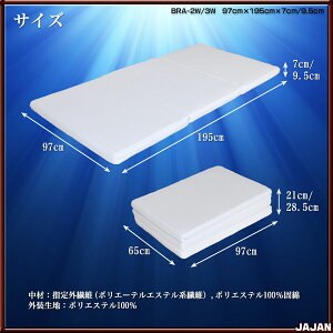 清涼マットレス風臣[二層構造タイプ]三次元スプリング構造体ブレスエアー(R)を使用した清涼マットレス二段ベッドにオススメな二層構造タイプ三つ折り国産マットレス送料無料