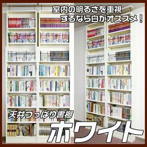 天井つっぱり本棚カシマカスタム明るさ重視のホワイトカラー